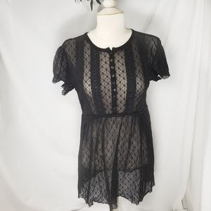 Free people black stretch lace top Large
